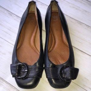 "Nurture ""Carine"" Black Leather Buckle Flat"
